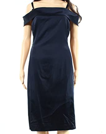 61d5b88aaa41 Tahari by ASL Women s Off Shoulder Stretch Satin Sheath Dress Navy Dress