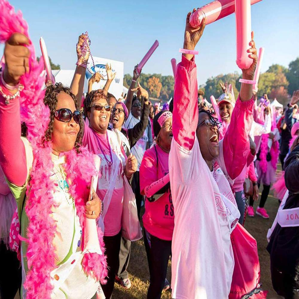 Finduat 20 Pcs Breast Cancer Awareness Silicone Wristband Pink Ribbon Bracelets