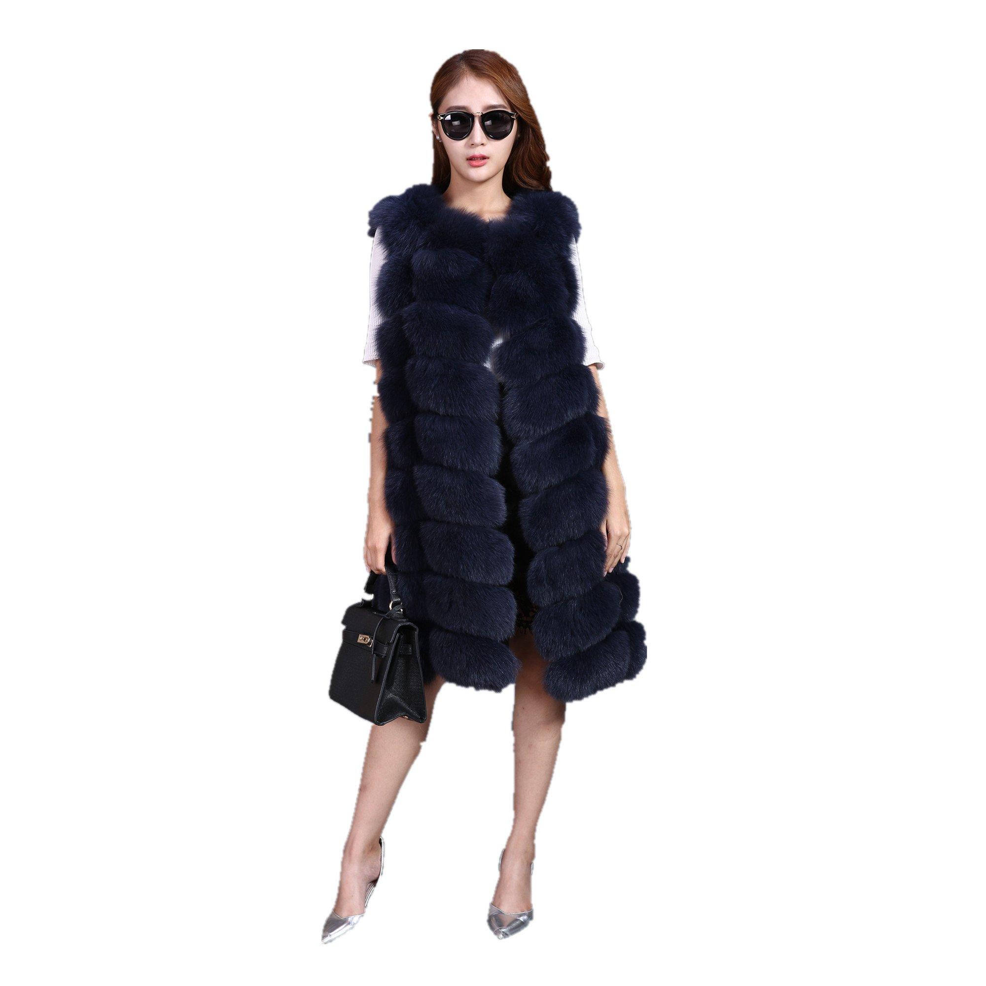 Lovingbeauty Long Navy Blue Vest Women Fox Fur Winter Gilet Outerwear Waistcoats (XXL)