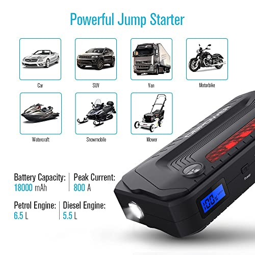 Powerful DBPOWER 800A Peak 18000mAh Portable Car Jump Starter