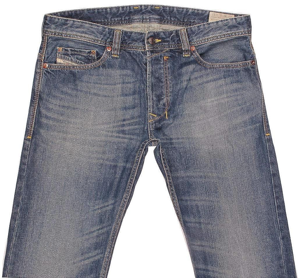 25598c7a Amazon.com: Diesel Mens Thavar 00C03F Slim Straight Jeans Blue Size 28W30L:  Clothing