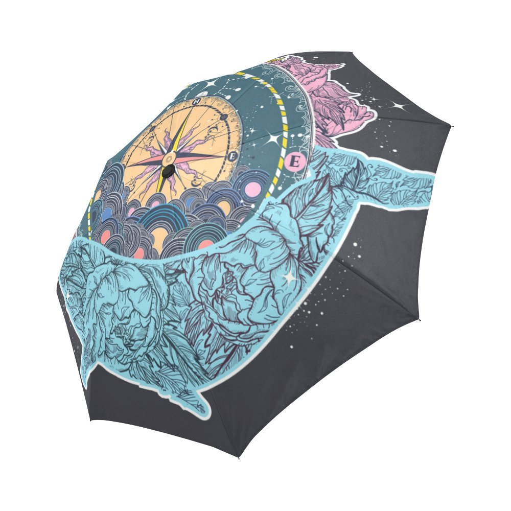 high-quality your-fantasia Antique Compass Floral Whale Auto Open Close Folding Waterproof Fabric Travel Umbrella