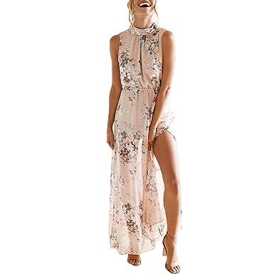 4ef652f39d7 LAEMILIA Jupe Fendue Femme en Mousseline Robe Longue Style Tenue Imprimé  Motif Floral Col Licou sans Manche Dos Nu Élégant Sexy  Amazon.fr   Vêtements et ...