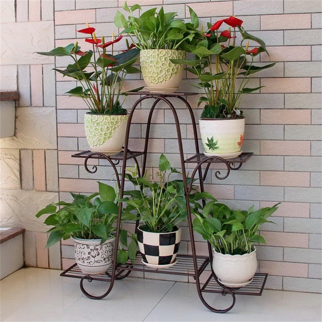 文明的な店-屋外ハーブフラワースタンド/フラワーラック - 6階の鉄の金属の植物鉢植えポットのための棚を立てる安定した植物スタンドバルコニー/リビングルーム/屋外/屋内庭装飾のガーデンストレージシェルフ(3色) (色 : ブロンズ, サイズ さいず : 76*23*73cm) B07CSSPHQT  ブロンズ 76*23*73cm