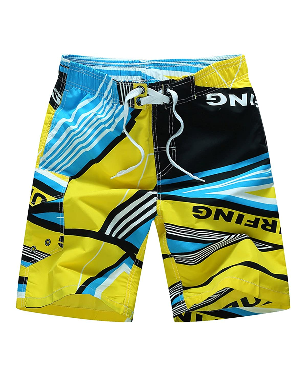 Men's Casual Printed Beach Board Shorts Hawaiian Quick Dry Swim Trunks with Mesh Lining HC1801232