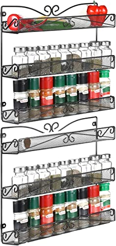 2 Pack 3 Tier Wall Mount Spice Rack Organizer for Cabinet Pantry Door Kitchen Large Hanging Spice Shelf,Black.