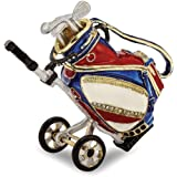 Bejeweled Pewter Enamel Golf Bag Trinket Box
