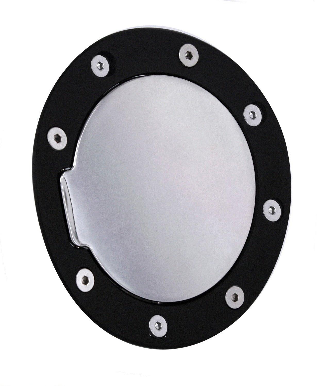 All Sales 6055KL Black Billet Aluminum Ring and Locking Fuel Door