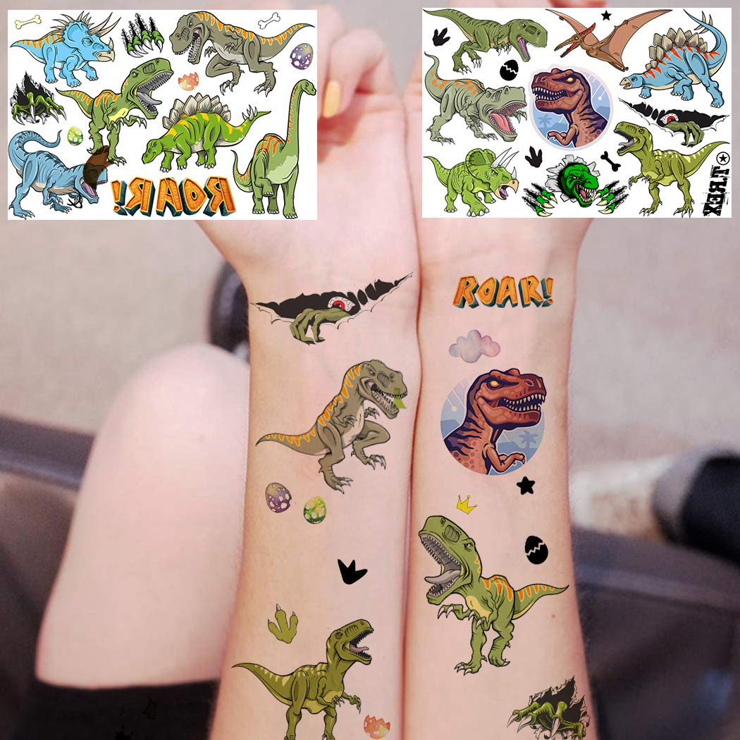 Dinosaur... Fun Stickers Temporary Tattoo Kids Party Bag Fillers 6 Sheets Space