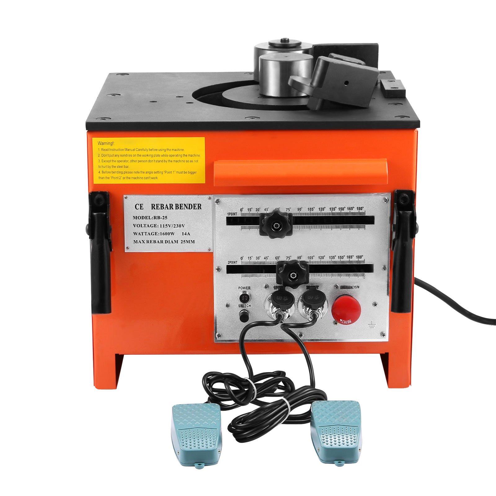 VEVOR Electric Rebar Machine 110V Rebar Bender Maximum Bending Diameter 1 Inch Rebar Bending Machine for Steel with 2 Foot Pedals