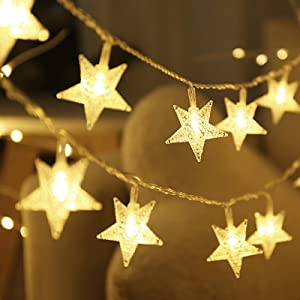 Star String Lights, Led Fairy Lights 33Ft, 70 Led fit Indoor and Outdoor Use, Bedroom Decor, Wedding Party, Christmas Tree, Garden Decorations, Warm White