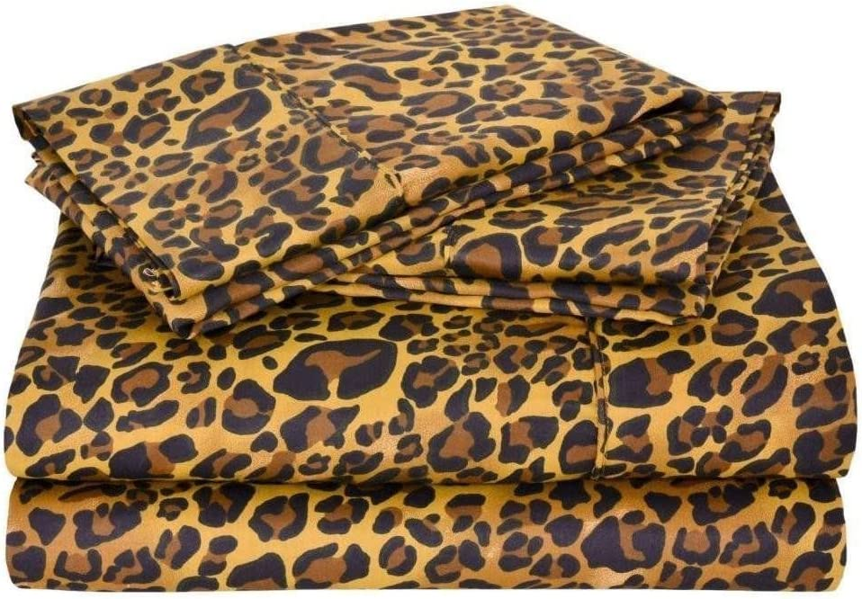 """Egyptian Cotton Full Sheet Set (54x75) 15"""" Deep Pocket 600 Thread Count Classic Collection Leopard Print # Exotic Bedding Collection"""