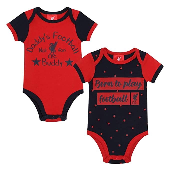 95193813fbf Liverpool FC Red Baby Boy Football 2 Pack Bodysuits AW 18 19 LFC Official   Amazon.co.uk  Clothing