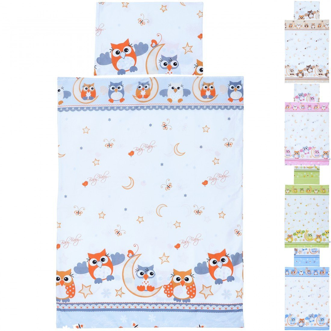 LCP Kids Owls red 2 Pcs Baby Cot Bedding Set - Duvet Cover 135x100cm Pillowcase 60x40cm for Children Room