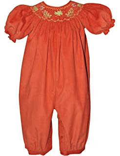 a8c4f752a Carouselwear Smocked Fall Leaves Baby Girls Long Bubble Thanksgiving Harvest