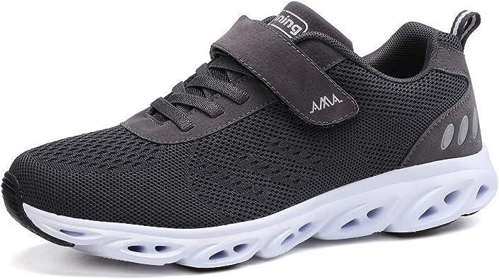 Zapatillas de Running para Hombre Mujer Velcro Zapatillas de Deporte Zapatos para Caminar Antideslizante Transpirable Zapatos con Cordones Gris Negro: Amazon.es: Zapatos y complementos