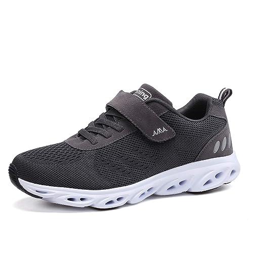 Zapatillas de Running para Hombre Mujer Velcro Zapatillas de Deporte Zapatos para Caminar Antideslizante Transpirable Zapatos con Cordones Gris Negro: ...
