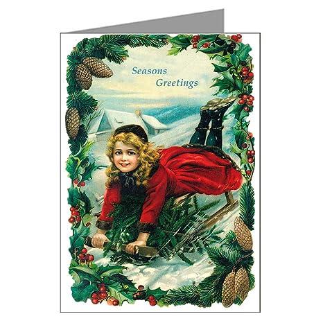 Amazon Com Victorian Christmas Girl On A Sled Wishing Seasons