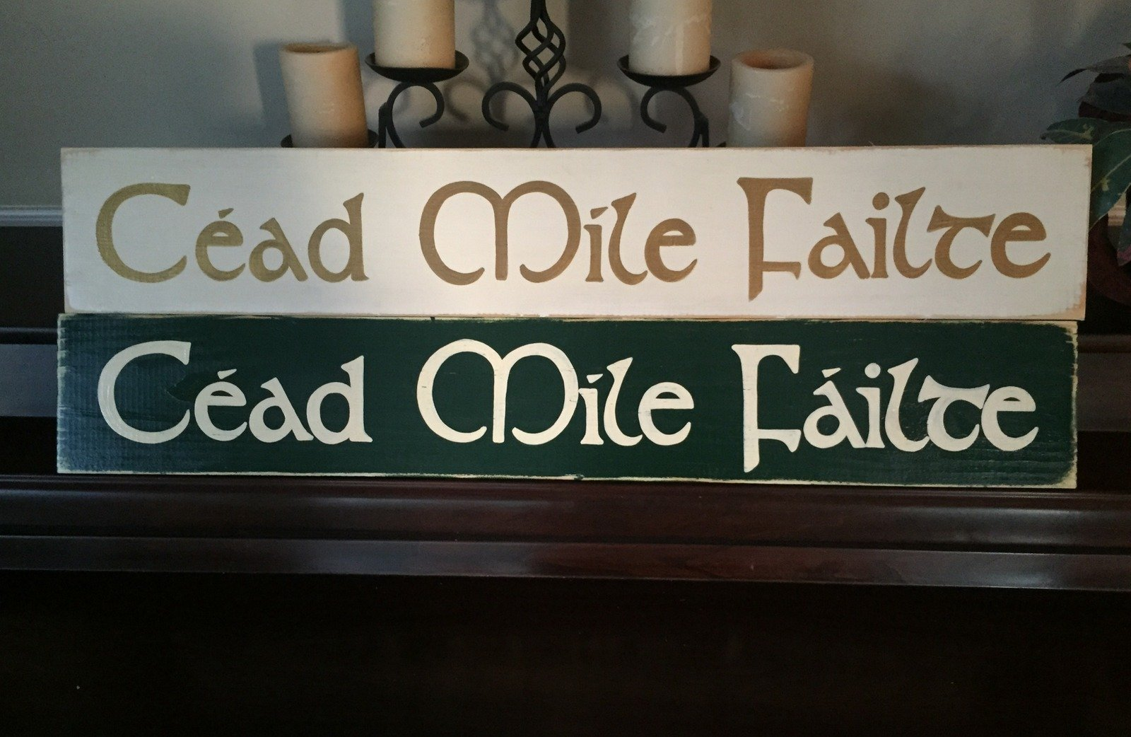CEAD MILE FAILTE One Hundred Thousand Welcomes XL Wooden Plaque Sign Hand Painted Gaelic Celtic Irish Ireland Home Wall Décor You Pick Color FREE SHIPPING