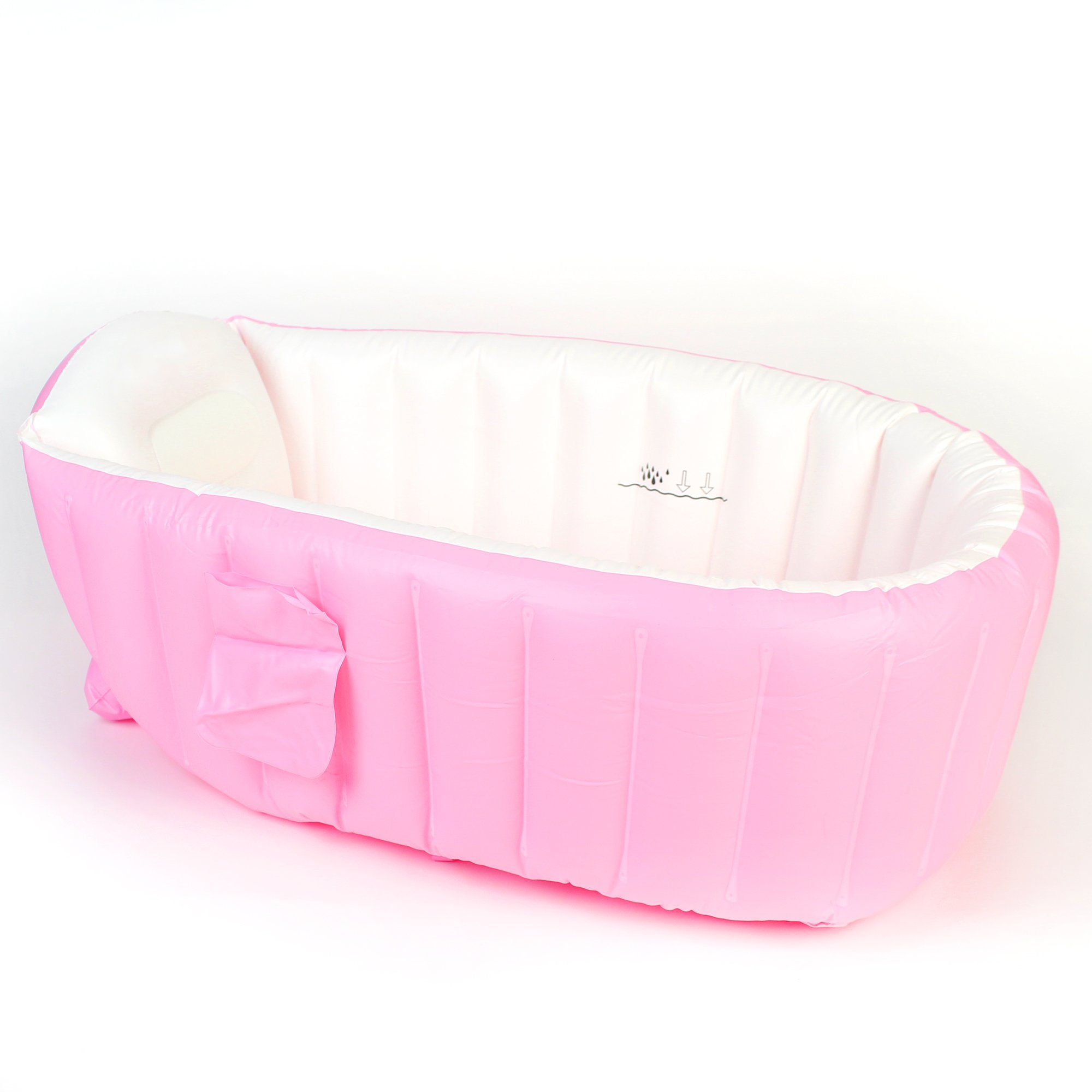 Salcon Baby Inflatable Bathtub-Infant Travel Non Slip Bathing Tub-Pink