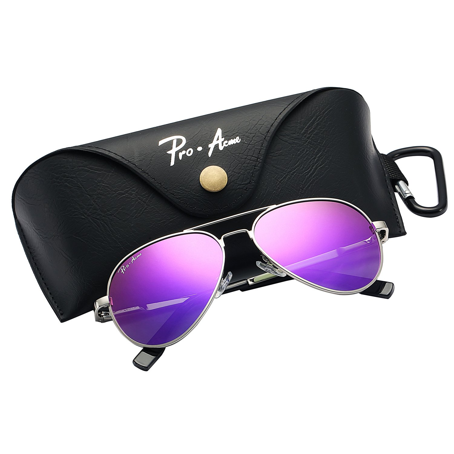 Pro Acme Small Polarized Aviator Sunglasses for Kids and Youth Age 5-18 (Silver Frame/Purple Mirrored Lens)