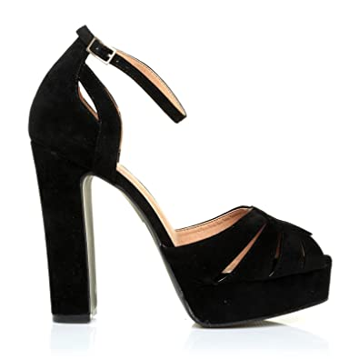 0f70a046091 Morgan Black Suede Platform Peep Toe Block Heel Ankle Strap Party Shoes   Amazon.co.uk  Shoes   Bags