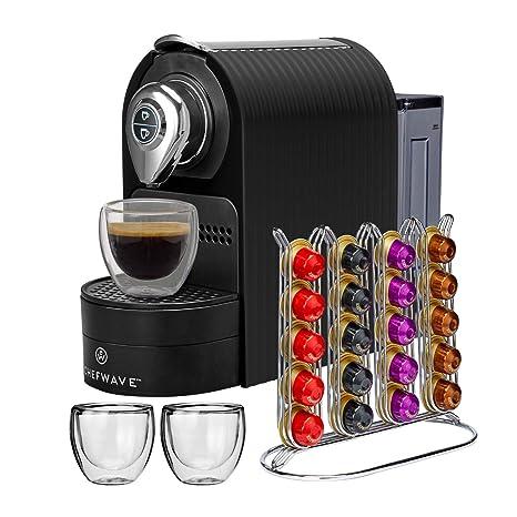 ChefWave Mini Espresso Machine - Nespresso Capsules Compatible - Programmable One-Touch 27 Oz. Water Tank, Premium Italian 20 Bar High Pressure Pump - ...