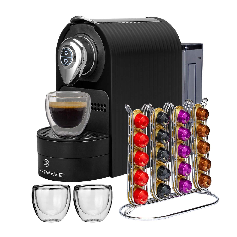 ChefWave Mini Espresso Machine - Nespresso Capsules Compatible - Programmable One-Touch 27 Oz. Water Tank, Premium Italian 20 Bar High Pressure Pump - 40 Pod Holder, 2 Double-Wall Glass Cups - Black