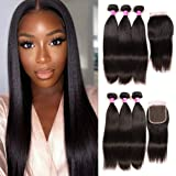 Ayniss Straight Hair Bundles with Closure 100% Brazilian Straight Virgin Hair 3 Bundles with Lace Closure Free Part Human Hai