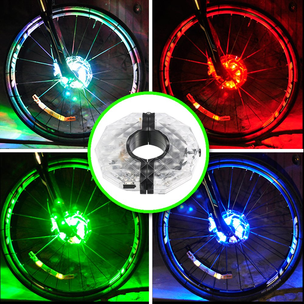 Alritz Rechargeable Bike Wheel Hub Lights, Waterproof 3 Modes LED Cycling Lights, RGB Colorful Bicycle Spoke Lights for Safety Warning and Decoration (Wheel Light for 1 Wheel)