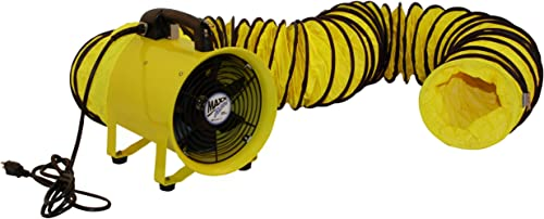 MaxxAir HVHF 12COMBO Heavy Duty Cylinder Fan with 20-foot Vinyl Hose, High Velocity Portable Utility Blower Exhaust Axial Hose Fan, 12-Inch, Yellow