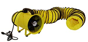 MaxxAir HVHF 12COMBO Heavy Duty Cylinder Fan with 20-foot Vinyl Hose, High Velocity Portable Utility Blower/Exhaust Axial Hose Fan, 12-Inch, Yellow