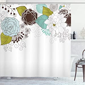 Ambesonne Spring Shower Curtain, Ornamental Florets Blooms Romantic with Leaves Beauty Design, Cloth Fabric Bathroom Decor Set with Hooks, 70