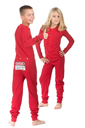 ce6f369ff4 Image Unavailable. Image not available for. Color  Red Union Suit Boys    Girls Kids Pajamas Danger Blast Area Sign on Rear Flap