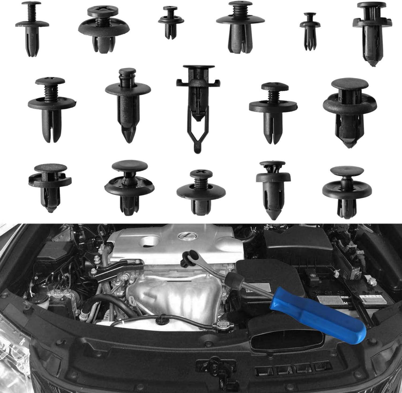 MUKOOL 625PCS Car Push Retainer Clips Plastic Fasteners Kit 16 Most Popular Sizes Auto Bumper Fender Door Trim Panel Clips with 1 Blue Plastic Fastener Remover for GM Honda Toyota