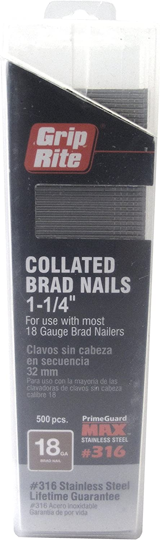 Grip Rite Prime Guard MAXB64901 2-inch 316 Stainless Steel 18-gauge Brad Nail 500 per Belt Clip