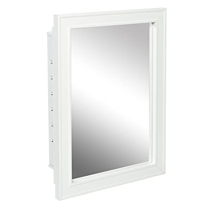 American Pride G9610R1W   Recessed White Wood Framed Mirror Steel Tech Body Medicine  Cabinet 16 Inch