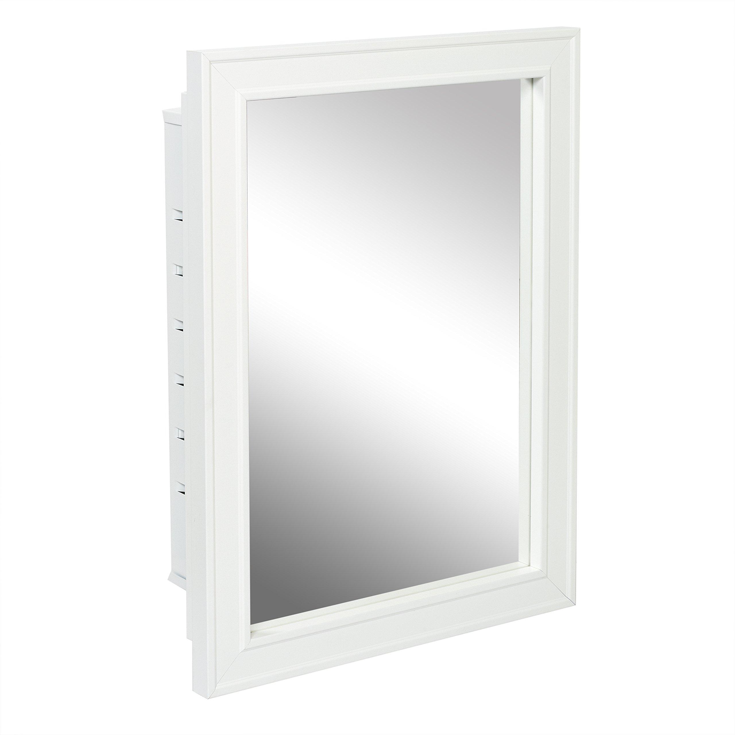 American Pride G9610R1W - Recessed White Wood Framed Mirror steel Tech Body Medicine Cabinet 16 inch x 22 inch