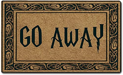 Artsbaba Welcome Mat Go Away Door Mat Rubber Non-Slip Entrance Rug Floor Mat Balcony Mat Home Decor Indoor Doormat 30 x 18 Inches, 3 16 Thickness