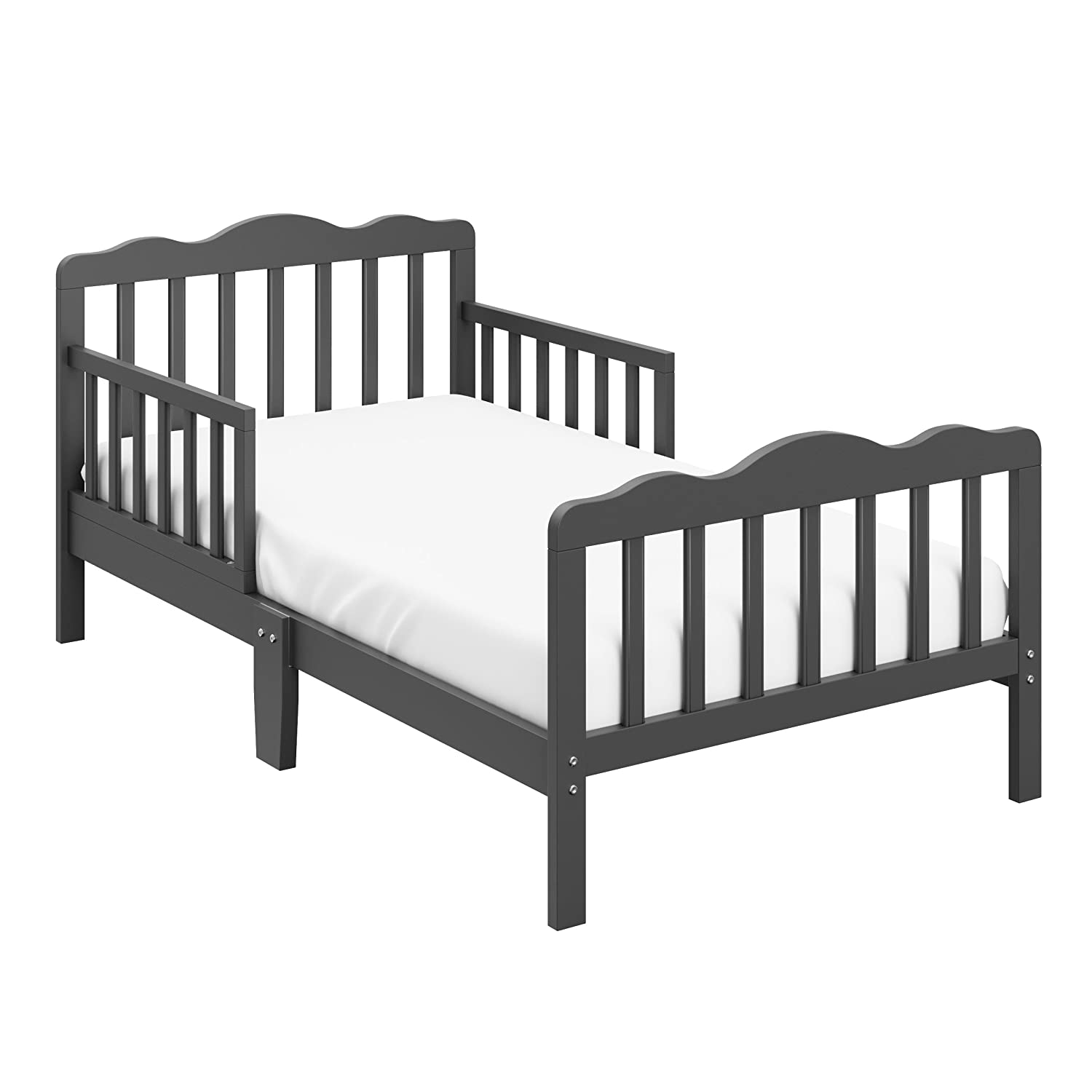 Storkcraft Hillside Toddler Bed Gray Fits Standard-Size Toddler Mattress, Guardrails on Both Sides for Added Protection, Meets or Exceeds all Federal Safety Standards, Pine & Composite Construction 05251-10G