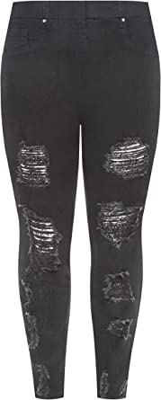 Yours Clothing Womens Extreme Distressed Cropped Jenny Jeggings