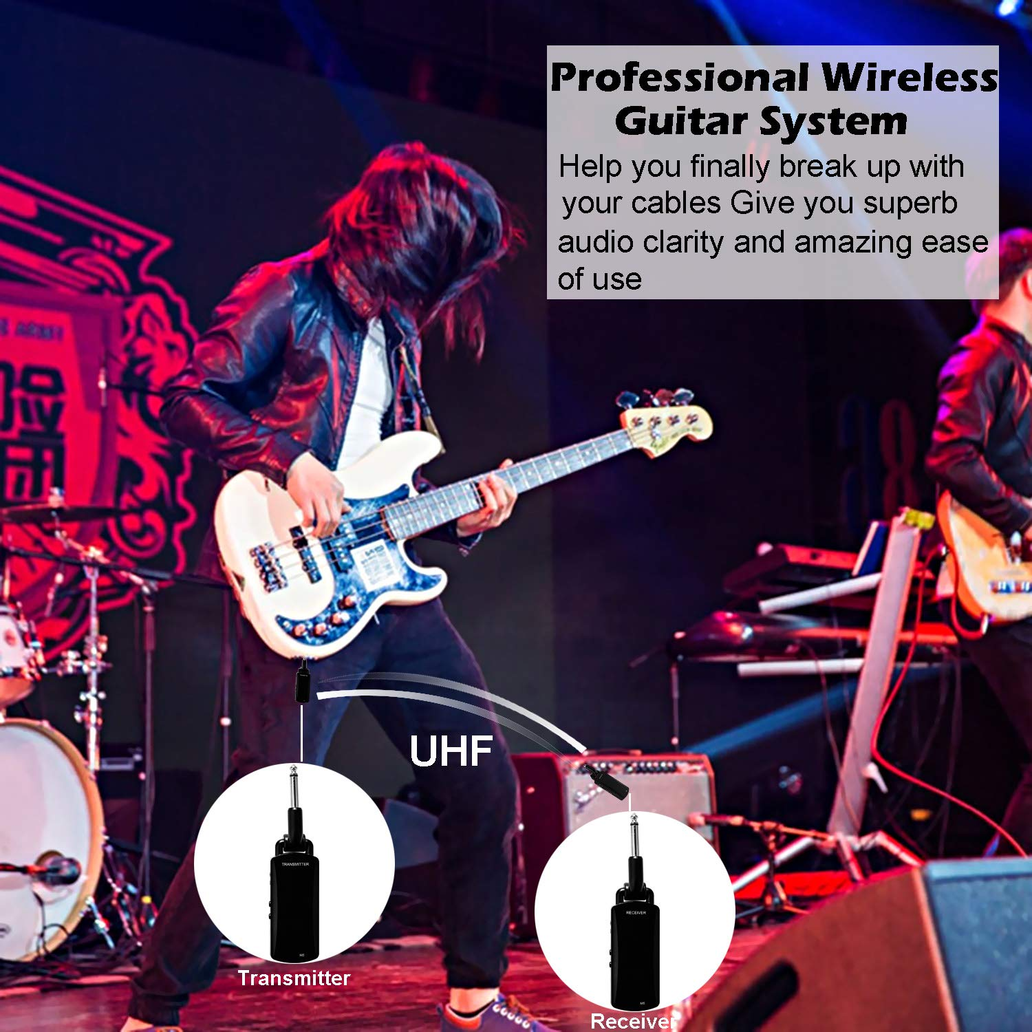 Wireless Guitar System - ZXK CO 5.8GHz Rechargeable Guitar Wireless Audio Transmitter Receiver - Electric Digital Guitar System Transmitter Receiver Set by ZXK CO (Image #7)