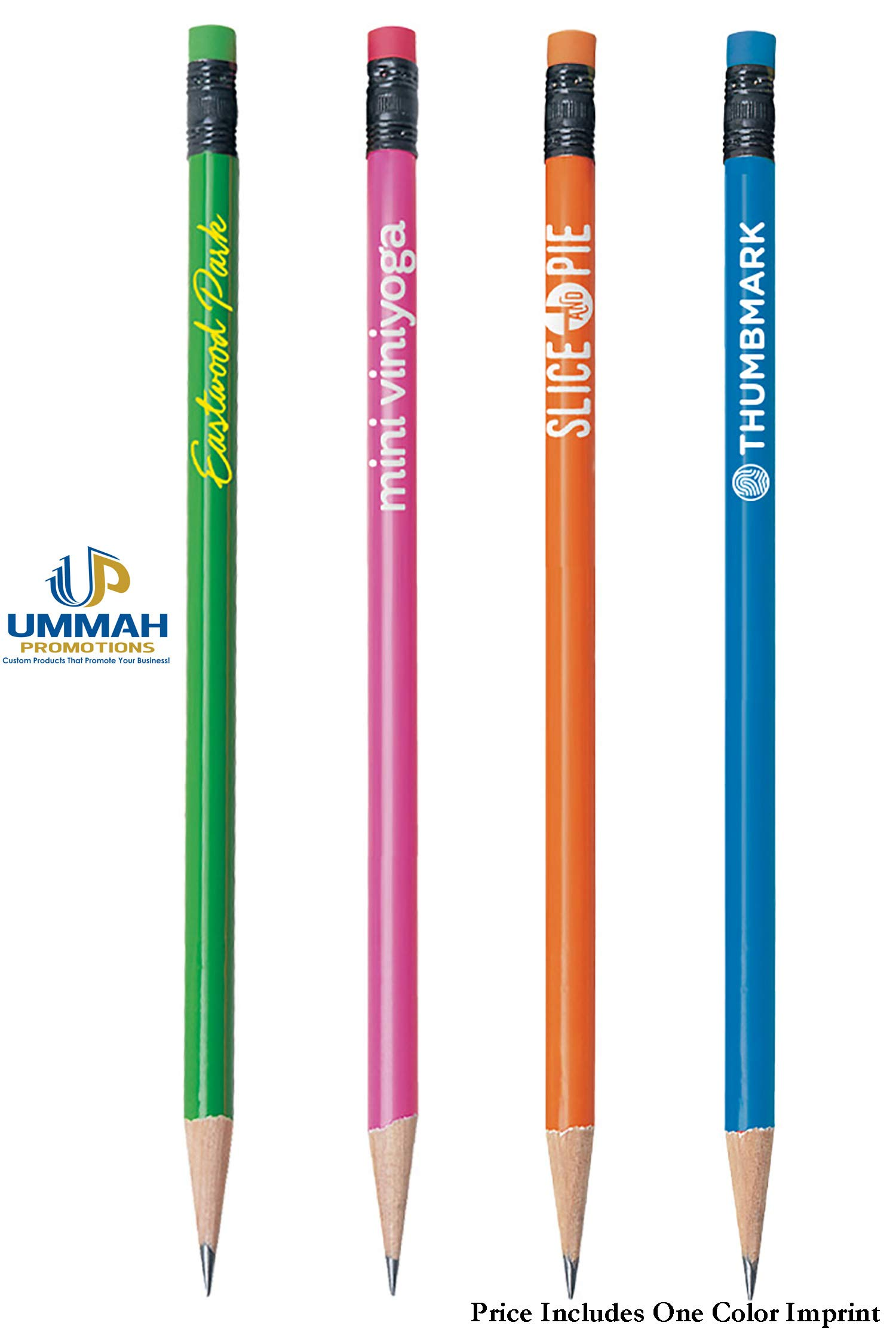 576 Personalized Neon Round #2 Pencils Printed with Your Company/School Logo or Message