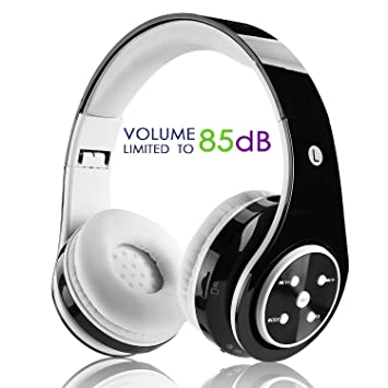 Auriculares inalámbricos con Bluetooth para niños, con Volumen de micrófono, Plegables, para PC, TV, tabletas, Smartphones, Color Negro: Amazon.es: ...
