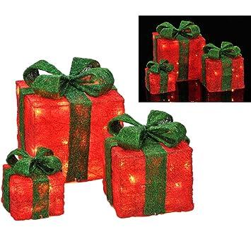 Weihnachtsdeko Geschenke.3er Set Beleuchtete Geschenkboxen Als Weihnachtsdeko Rot Mit Grüner