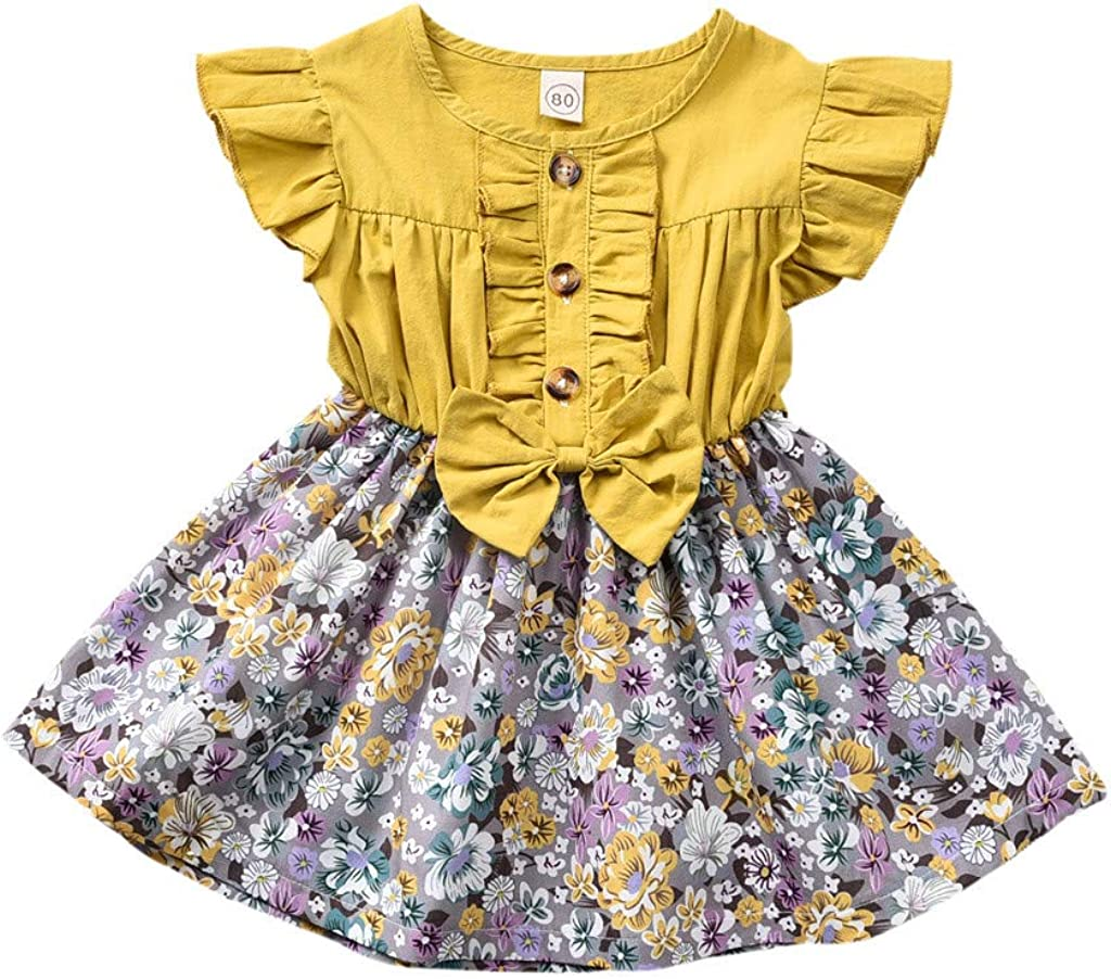 Baby Girls Easter Sundress Rabbit//Floral Sleeveless Ruched Dress Clothes Set 1-5T Little Kid Toddler Baby Girl Skirt