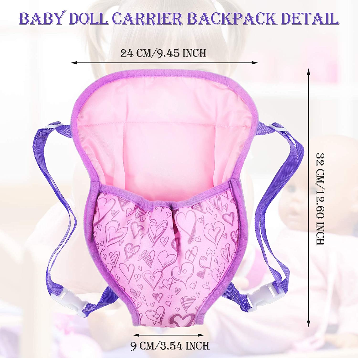 2 Pieces Baby Doll Carrier Backpacks Doll Portable Bags Doll Carrier Front Storage Bags with Straps Doll Accessories Fit for Dolls from 14 to 18 Inches