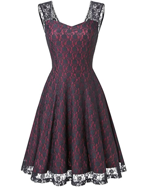 Dresstells® Vestido Vintage Mujer Casual Corto Encaje Fiesta Boda Madrina Sin Mangas Burgundy 3XL