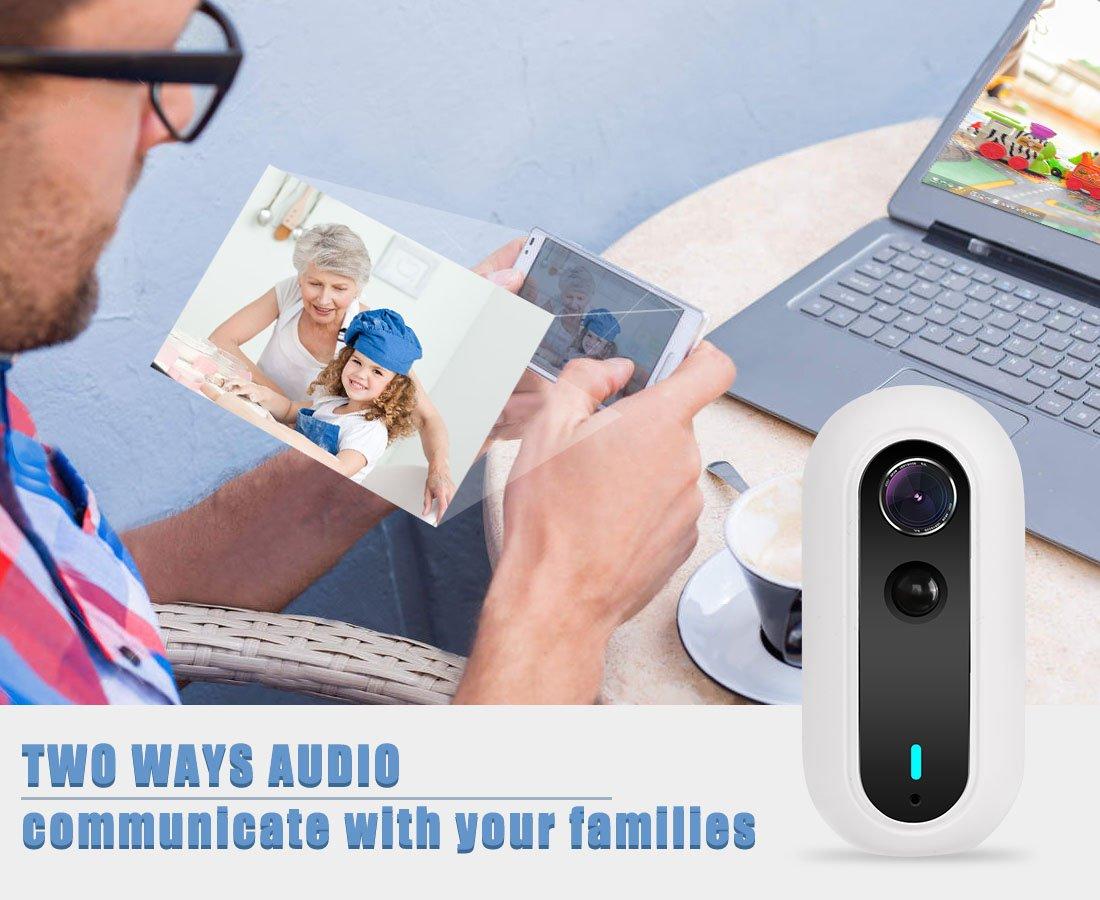 Cámara IP inalámbrica, uokoo 1080P Mini IP cámara de seguridad sistema de vigilancia con visión nocturna/dos manera Audio para mascotas bebé Nanny Monitor: ...