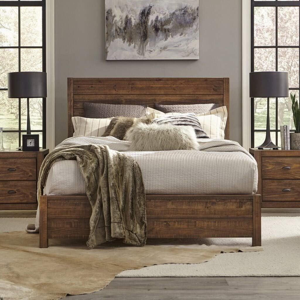 Grain Wood Furniture Montauk Full-Size Solid Wood Panel Bed Rustic Walnut Industrial, Farmhouse